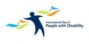 logo for International Day of People with Disability, a blue person with ribbons and blue writing.