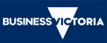 a blue rectangle with white writing saying Business Victoria